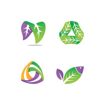 Liść projekt logo wektor zestaw szablonów