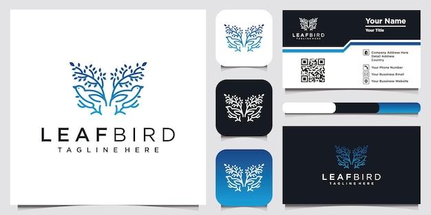 Liść ptak logo design inspiracja dla firmy i wizytówki