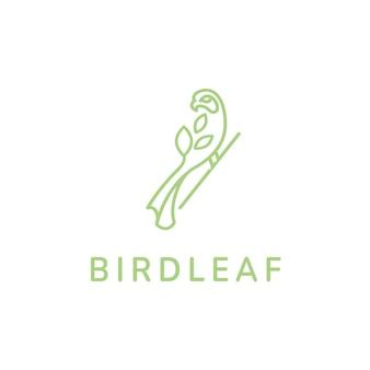 Liść ptaka eko zielone logo monoline