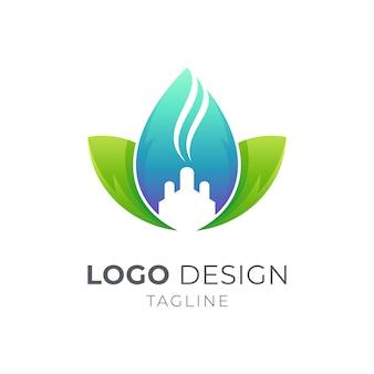 Liść z koncepcją logo fabryki