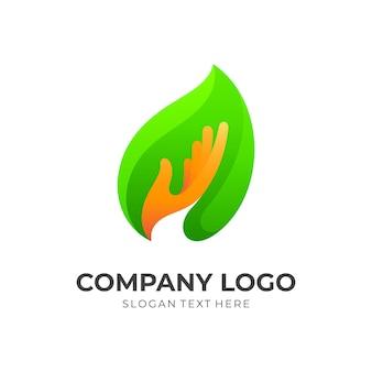Liść z wektorem logo strony, prosty styl 3d
