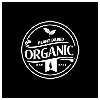 Liść z widelcem do zdrowej żywności ekologicznej danie dania kuchni vintage retro label projektowanie logo