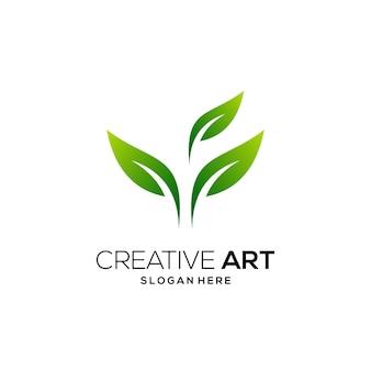 Liść zielone logo kolorowy nowoczesny gradient