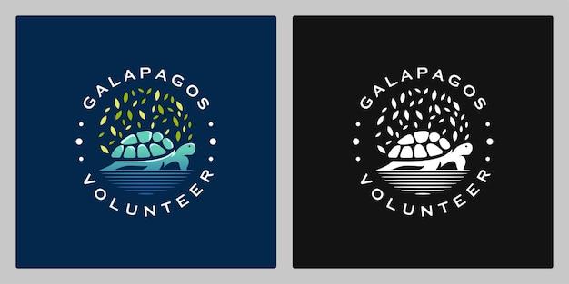 Liść żółwia na wodzie vintage kolorowe logo design