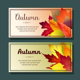 Liści jesienią lasu pozostawia poziomy baner