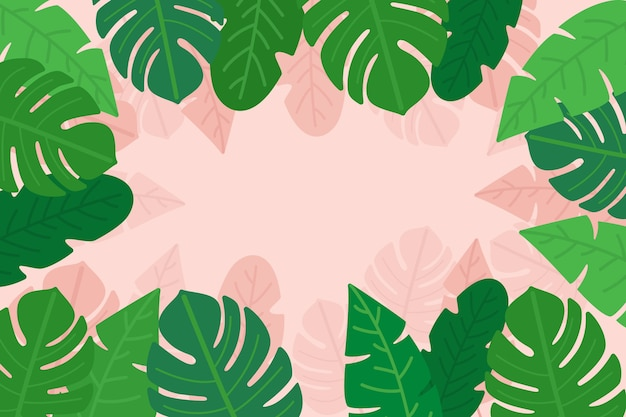 Liści palmowych i monstera z miejsca kopiowania