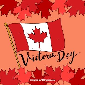 Liści tła i flaga kanady na dzień victoria