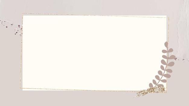 Liściasta złota rama na beżowym tle wektora