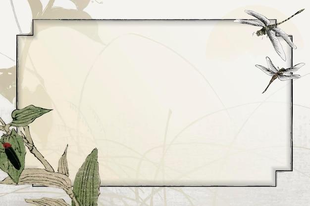 Liściaste tło ramki ważki