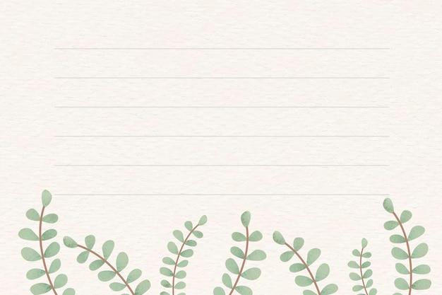 Liściaste wzorzyste tło notatki wektor