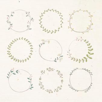 Liściasty doodle element projektu naklejki wektor zestaw