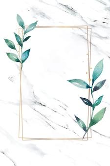 Liściasty prostokąt złotej ramki wektor