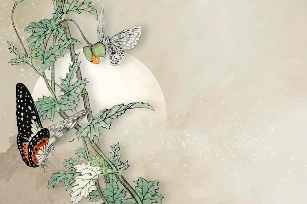 Liściasty wektor projektu ramki motyla