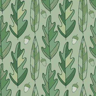 Liście dębu zielony wzór. tło wzór tekstylny i tapety