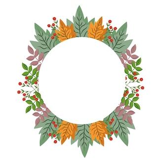 Liście gałąź jagody liści natura, ilustracja koło ramki