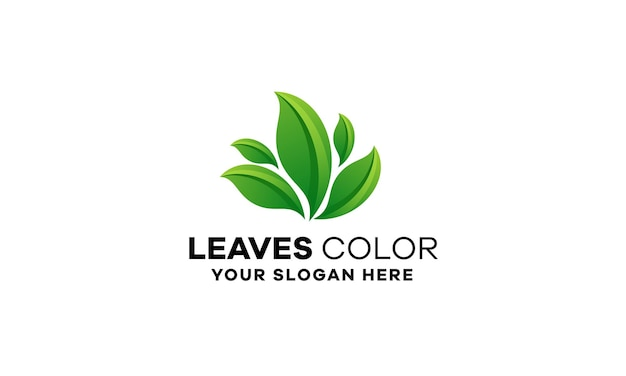 Liście gradient logo szablon