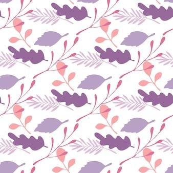 Liście i gałęzie wektor wzór na białym tle. płaski styl tła na okładki tekstylne lub książki, tapety, projekty, grafiki, opakowania