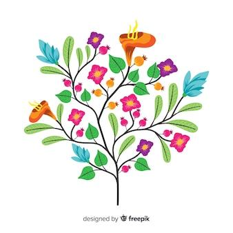 Liście i wiosenne kwiaty w płaskiej konstrukcji