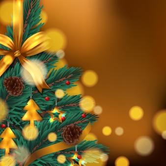 Liście jodły z akcesoriami, złoty metal, szyszka i złote wstążki świąteczne tło