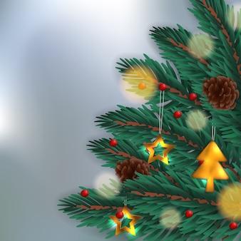 Liście jodły z akcesoriami, złoty metal, szyszka sosny świąteczne tło