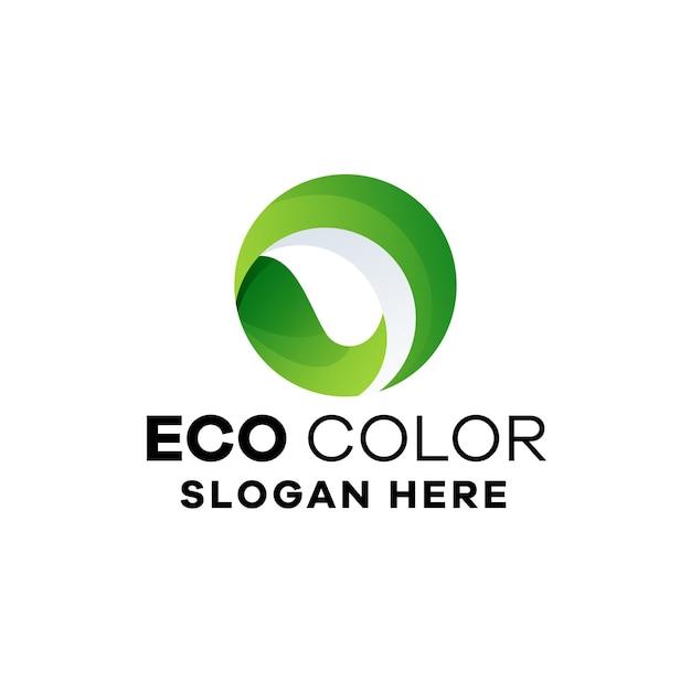Liście koło gradient logo szablon