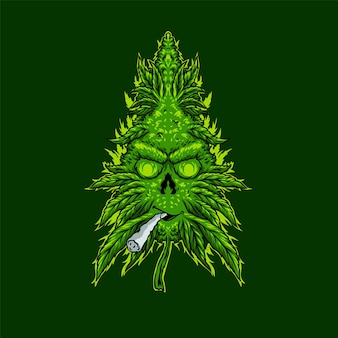 Liście marihuany palą papierosy ilustracja