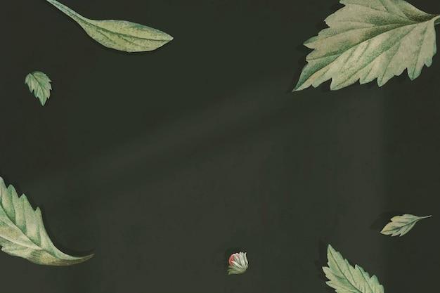 Liście na zielonym tle