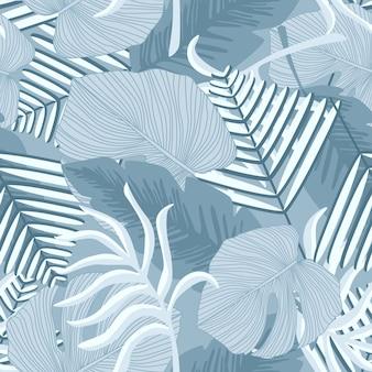 Liście palmowe bezszwowe tło botaniczne.