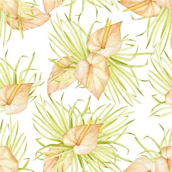 Liście palmowe, lilie calla w stylu boho. akwarela bezszwowe wzór