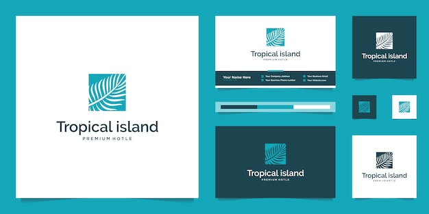 Liście palmowe. streszczenie koncepcji projektu dla biur podróży, kurortów tropikalnych, hoteli plażowych. szablon projektu logo letnie wakacje.