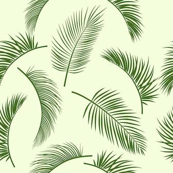 Liście palmowe sylwetka na białym tle bezszwowe wzór z roślin tropikalnych.
