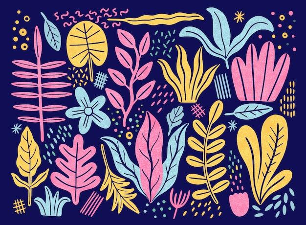 Liście płaski zestaw. rośliny tropikalne na białym tle. natura prosty zielony kwiatowy. minimalistyczna fantazja w stylu.