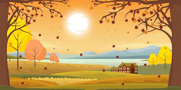 Liście sezon jesień krajobraz w stylu płaski