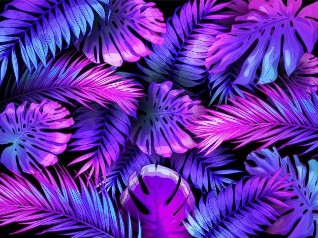 Liście tropikalne w neonowym kolorze. modny kolorowy liść palmy, tło dżungli i fioletowe egzotyczne rośliny pozostawiają tapetę ilustracji.