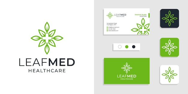 Liście ze znakiem plus projekt logo medycznej opieki zdrowotnej i kreatywny szablon wizytówki