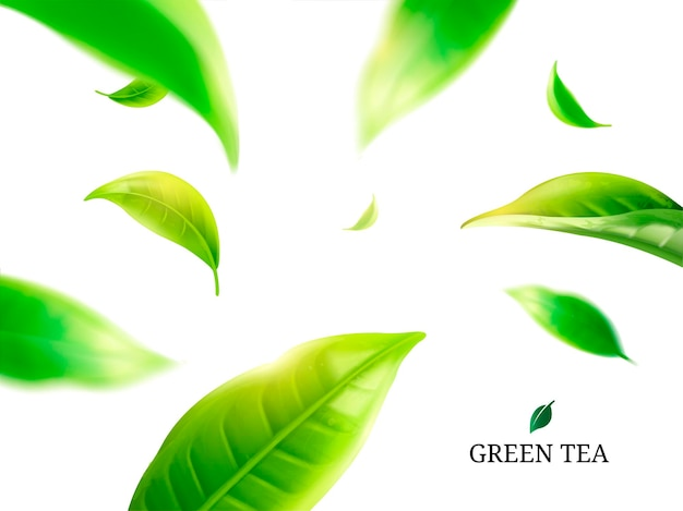 Liście zielonej herbaty latają wokół