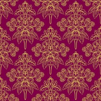 Liściowy fioletowy wzór