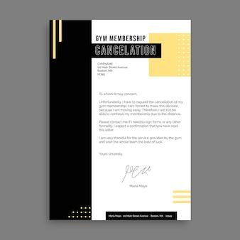 List do rezygnacji z członkostwa duotone simple gym