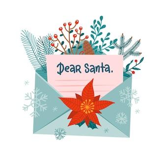 List do świętego mikołaja w otwartej kopercie. świąteczna poczta bożonarodzeniowa ozdobiona gałęziami lasu