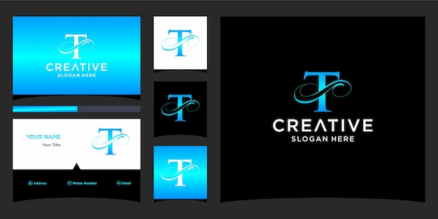List elegancki projekt logo z projektem wizytówki