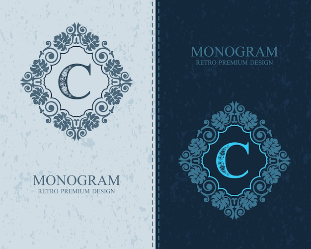 List emblemat c szablon, elementy projektu monogram, kaligraficzny wdzięku szablon.