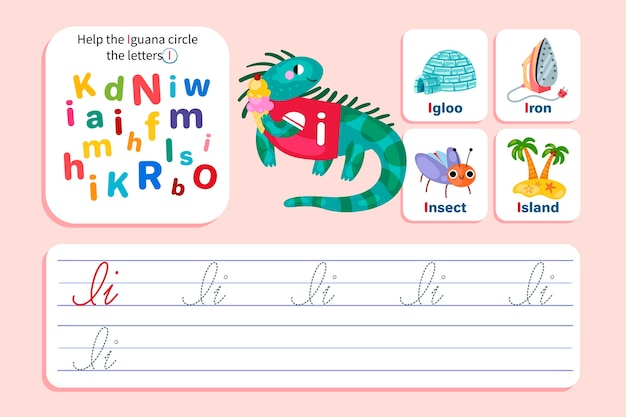List i arkusz roboczy z iguaną