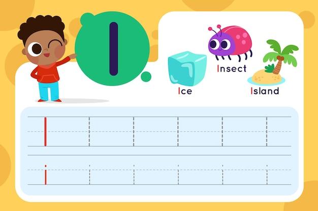 List i arkusz roboczy z lodem i owadami