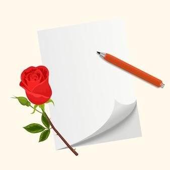 List miłosny na walentynki. kwiat róży, długopis i papier