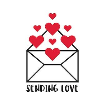 List miłosny otwarty z różnymi kształtami czerwonego serca wychodzącymi w wektor swobodny illustratio