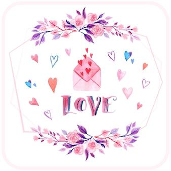 List miłosny tła akwarela