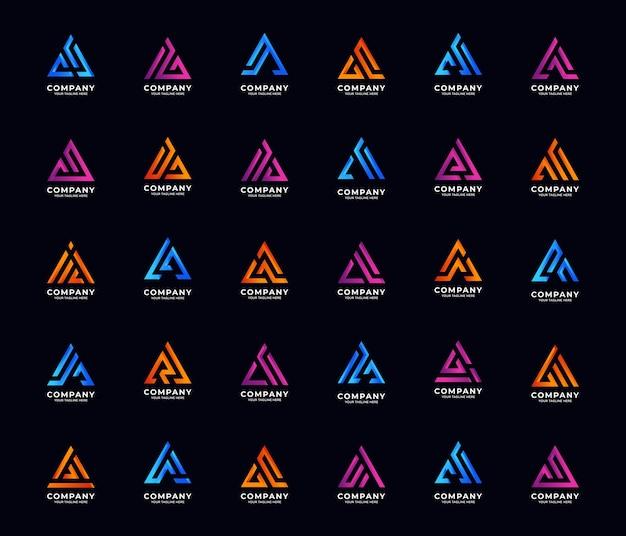 List monogram inicjał kolekcji szablonów logo