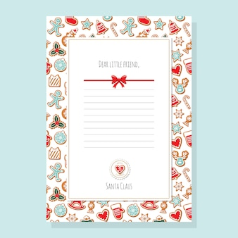 List świąteczny z szablonu świętego mikołaja