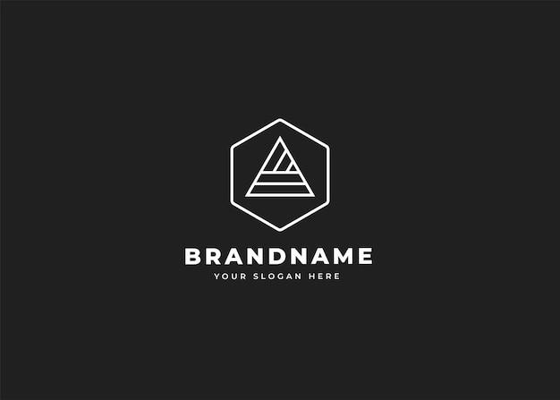 List szablon projektu logo o geometrycznym kształcie. ilustracje wektorowe