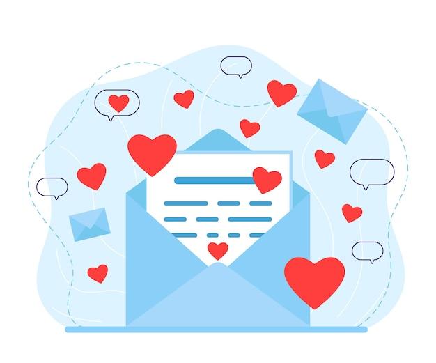 List w kopercie z przesłaniem miłości. czytanie listu miłosnego. wiadomość od kochanka z czerwonymi sercami. e-mail, sieć społecznościowa, czat walentynkowy. ilustracja